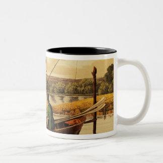 Fishing in a Punt, aquatinted by I. Clark, pub. by Two-Tone Coffee Mug