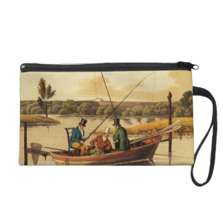 Fishing in a Punt, aquatinted by I. Clark, pub. by Wristlet Purse