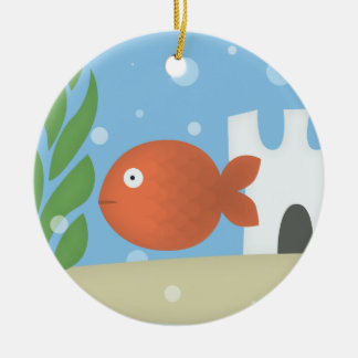 Fishing in bowl ceramic ornament