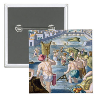 Fishing in Shallow Waters Using Nets, plate 96 fro Pinback Button
