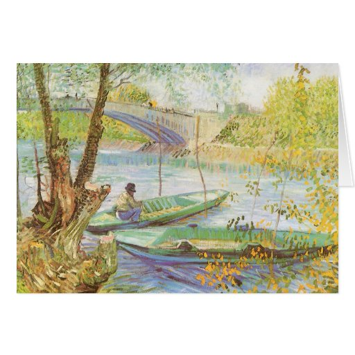 Fishing in Spring by Vincent van Gogh, Christmas Greeting Card
