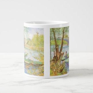 Fishing in Spring, van Gogh, Vintage Impressionism Jumbo Mugs