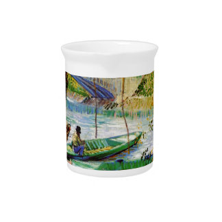 Fishing in Spring, Vincent van Gogh. Beautiful fis Beverage Pitcher