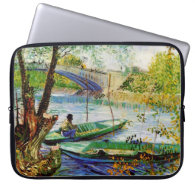 Fishing in Spring, Vincent van Gogh. Laptop Computer Sleeve
