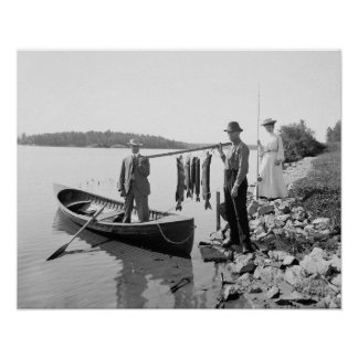 Fishing in the Adirondacks, 1903. Vintage Photo Poster