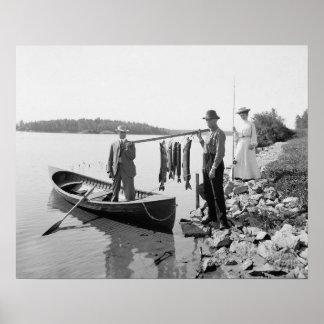 Fishing in the Adirondacks, 1903. Vintage Photo Poster