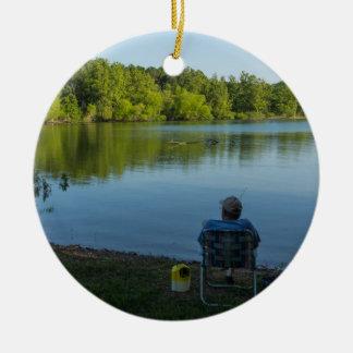 Fishing In The Morning Ceramic Ornament