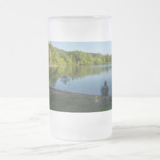 Fishing In The Morning Frosted Glass Beer Mug