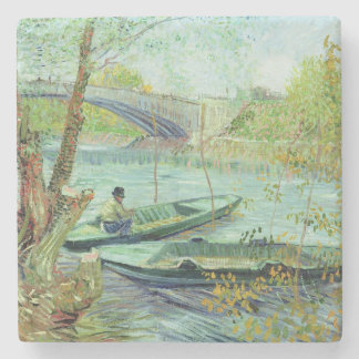 Fishing in the Spring. Pont de Clichy, 1887 Stone Coaster