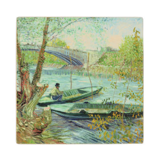 Fishing in the Spring. Pont de Clichy, 1887 Wood Coaster