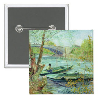Fishing in the Spring. Pont de Clichy, 1887 Pinback Button