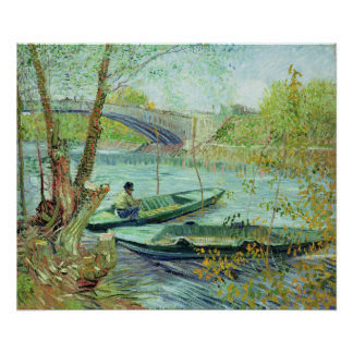 Fishing in the Spring. Pont de Clichy, 1887 Poster
