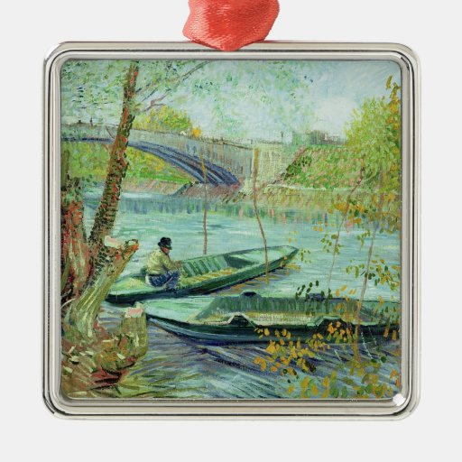 Fishing in the Spring. Pont de Clichy, 1887 Square Metal Christmas Ornament