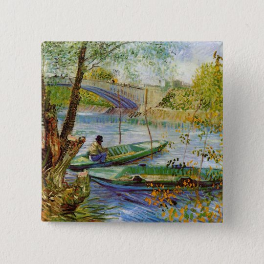 Fishing in the Spring, Vincent van Gogh (F354) Button