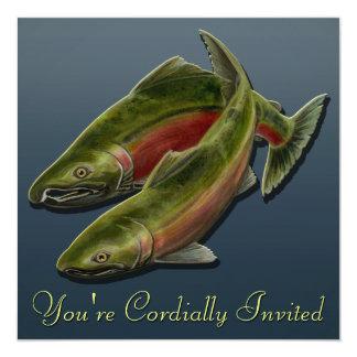 "Fishing Invitations Personalized Salmon Art RSVP 5.25"" Square Invitation Card"