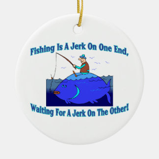 Fishing Is A Jerk On One End Double-Sided Ceramic Round Christmas Ornament
