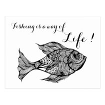 artsprojekt, art, drawing, fish, fishing, trout, fly, fisherman, fishermen, quotes, doodle, ink, black, white, anglers, angling, Postcard with custom graphic design
