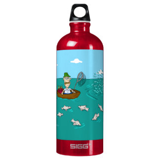 Fishing joke with dynamite aluminum water bottle