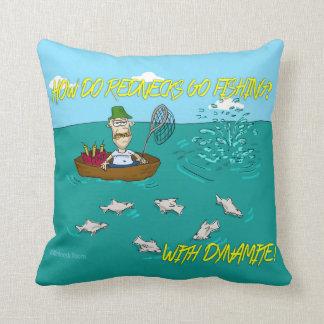 Fishing joke with dynamite pillow