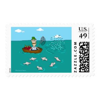Fishing joke with dynamite stamp