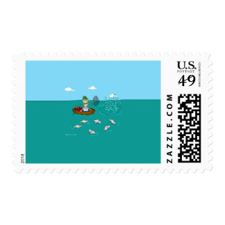 Fishing joke with dynamite stamps
