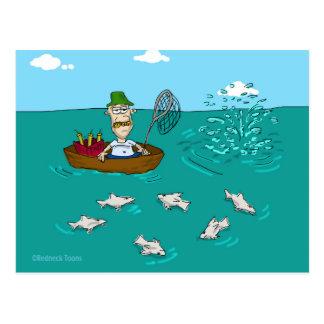 Fishing joke with dynamite postcard