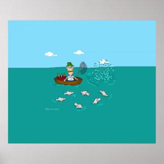 Fishing joke with dynamite print