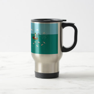 Fishing joke with dynamite travel mug
