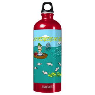 Fishing joke with dynamite water bottle