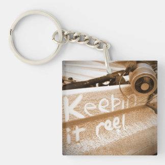 Fishing keepin it Reel beach fish rod beige Double-Sided Square Acrylic Keychain