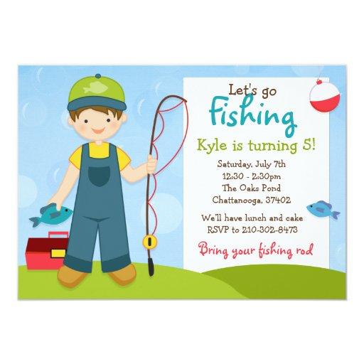 Fishing kids birthday party invitation zazzle for Fishing birthday party invitations
