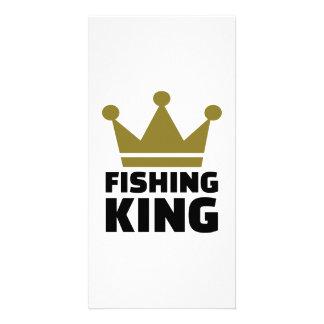 Fishing king crown photo greeting card