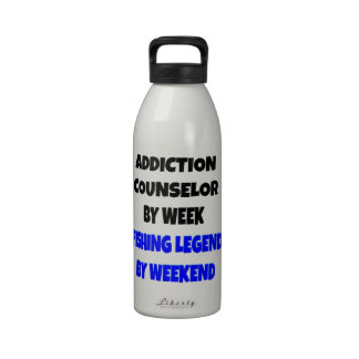 Fishing Legend Addiction Counselor Reusable Water Bottle