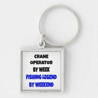 Fishing Legend Crane Operator Silver-Colored Square Keychain