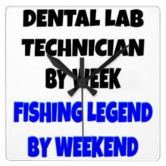 Fishing Legend Dental Lab Technician Square Wall Clock