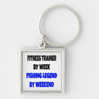 Fishing Legend Fitness Trainer Silver-Colored Square Keychain
