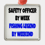 Fishing Legend Safety Officer Square Metal Christmas Ornament