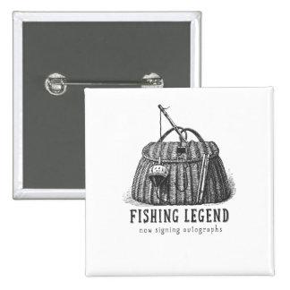 Fishing Legend Vintage Tackle Box Pinback Button