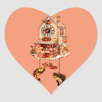 Fishing Lodge Cuckoo Clock Heart Sticker