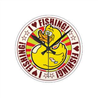 Fishing Love Duck Round Wallclocks