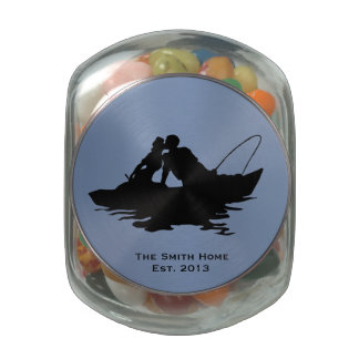 Fishing Lovers Blue Wedding Personalized Glass Candy Jar
