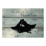 Fishing Lovers Boat Old Wood Thank You 3.5x5 Paper Invitation Card