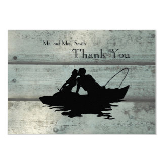 Fishing Lovers Boat Old Wood Thank You Card