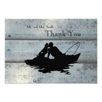 Fishing Lovers Boat Old Wood Thank You Custom Invitation