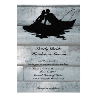 Fishing Lovers Boat Old Wood Wedding Invitation