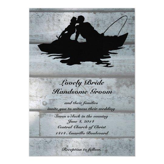 Fishing Lovers Boat Old Wood Wedding Invitation
