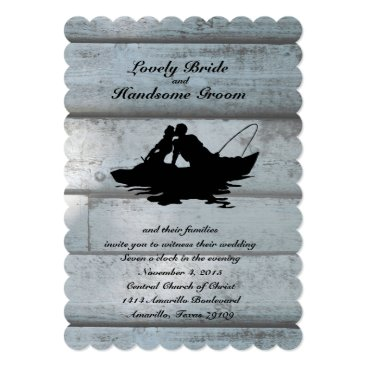 RiverJude Fishing Lovers Boat Scalloped Wedding Invitation