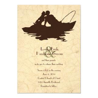 Fishing Lovers Brown Boat Wedding Invitation