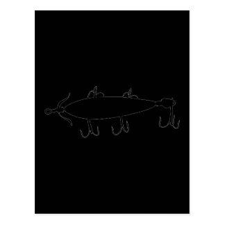 Fishing Lure 2 Silhouette a Postcard