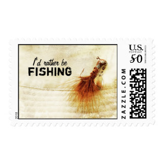 Fishing Lure I'd Rather Be Fishing Postage